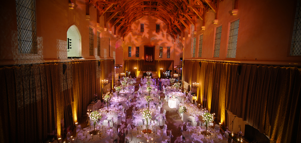 The Great Hall ready for a dinner