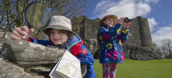 Children exploring a castle